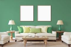 Affiches d'isolement par blanc avec la maquette vide de cadre Photographie stock