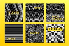 Affiches de bruit de vecteur réglées avec le fond de bruit Électro invitation de festival de musique, texture de problème Couvert Photo stock
