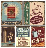 Affiches de café de cru et signes en métal Photographie stock libre de droits