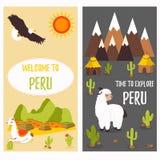 Affiches de concept du Pérou avec les lamas mignons et les destinations de touristes illustration de vecteur