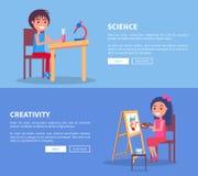 Affiches de créativité de la Science réglées avec la fille et le garçon illustration stock