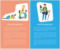 Affiches de famille de Taking Pictures Happy de photographe illustration de vecteur