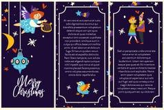 Affiches de Joyeux Noël avec la fille d'ange de couples et de cupidon illustration stock