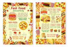 Affiches de menu de prêt-à-manger de vecteur d'hamburgers d'aliments de préparation rapide Illustration de Vecteur