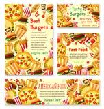 Affiches de menu de restaurant d'aliments de préparation rapide de vecteur Photographie stock libre de droits