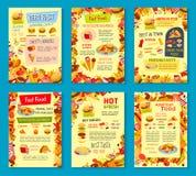 Affiches de menu de vecteur de repas de rapide Photos stock