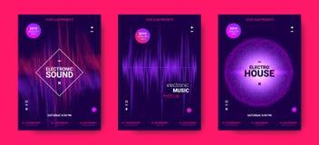 Affiches de musique électronique avec l'amplitude saine illustration libre de droits