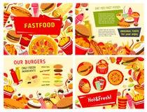 Affiches de prêt-à-manger de vecteur pour le restaurant d'aliments de préparation rapide Photographie stock