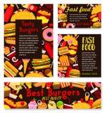 Affiches de restaurant d'hamburgers d'aliments de préparation rapide de vecteur Photos libres de droits