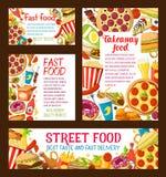 Affiches de traiteur de prêt-à-manger de nourriture de strert de vecteur Image libre de droits