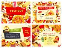 Affiches de vecteur de repas de restaurant d'aliments de préparation rapide réglées Illustration de Vecteur