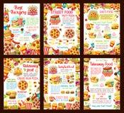 Affiches de vecteur de menu de restaurant de prêt-à-manger Image stock