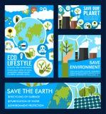 Affiches de vecteur pour l'économie de planète d'écologie Illustration Stock