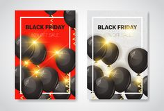 Affiches de vente de Black Friday réglées avec la promotion d'insecte d'achats de vacances de ballons à air et le concept superbe Images libres de droits