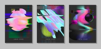 Affiches, Dekking met Glitch Effect en de Vloeibare Vormen van Bauhaus Abstract Futuristisch die Hipster-Ontwerp voor Aanplakbilj vector illustratie