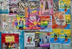 Affiches des concerts de musique à Valence photos stock