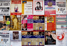 Affiches des concerts de musique à Prague Images libres de droits