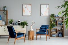 Affiches en installaties in helder woonkamerbinnenland met marineblauwe leunstoelen en bloemen Echte foto stock foto's
