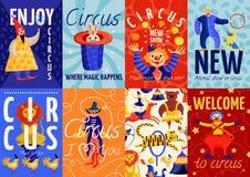 Affiches et bannières de cirque réglées illustration stock