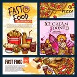 Affiches et bannières de restaurant d'aliments de préparation rapide de vecteur Illustration de Vecteur