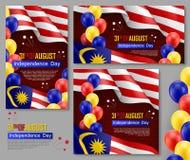 Affiches malaisiennes heureuses de Jour de la Déclaration d'Indépendance illustration libre de droits