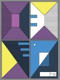 Affiches met abstracte vormen, geometrische stijl 80 ` s, Memphis Retro-kunst voor dekking, banners, vliegers en affiches Royalty-vrije Stock Afbeeldingen