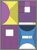 Affiches met abstracte vormen, geometrische stijl 80 ` s, Memphis Retro-kunst voor dekking, banners, vliegers en affiches Stock Foto's