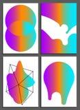 Affiches met abstracte vormen, geometrische stijl 80 ` s, Memphis Retro-kunst voor dekking, banners, vliegers en affiches Royalty-vrije Stock Foto's