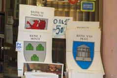 Affiches met de emblemen van oude roman districten Stock Afbeelding