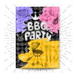 Affiches modernes colorées de prêt-à-manger réglées illustration de vecteur
