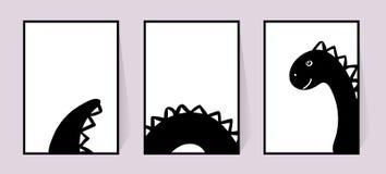 Affiches monochromes avec le dinosaure mignon Décor d'ensemble de vecteur pour des murs Dessin noir et blanc dans le style scandi illustration de vecteur