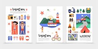 Affiches plates de vacances d'été illustration stock