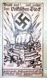 Affiches politiques de panneau d'affichage du parti Nazi allemand, exposées dedans images stock
