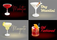 Affiches réglées de cocktail illustration stock