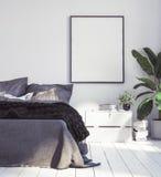 Affichesmodel in nieuwe Skandinavische bohoslaapkamer stock afbeeldingen