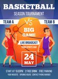 Afficheuitnodiging bij basketbalkampioenschap Ontwerpmalplaatje met plaats voor uw tekst en sportkarakters vector illustratie