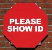 Affichez l'identification Photographie stock libre de droits