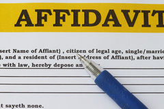 Affidavit. Blank form with blue pen abstract Stock Photography