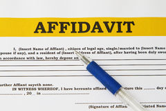 Affidavit. Blank form with blue pen abstract Royalty Free Stock Photography