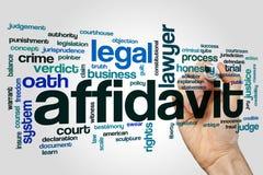 Affidavitwort-Wolkenkonzept auf grauem Hintergrund Lizenzfreies Stockbild