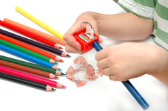 Affilez les crayons photographie stock