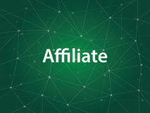 Affiliate or affiliation business technology illustration with white text and green background. Vector Royalty Free Stock Photo