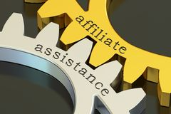 Affiliate Assistance concept on the gearwheels, 3D rendering illustration libre de droits