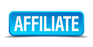 Affiliate blue 3d realistic square button Royalty Free Stock Image