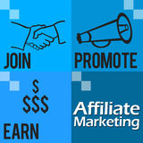 Affiliate Marketing Blue Four Blocks Royalty Free Stock Images