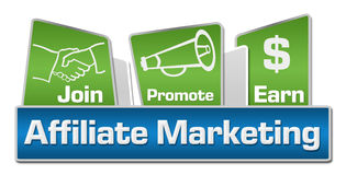 Affiliate Marketing Blue Green Rounded Squares Stock Image