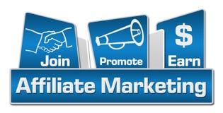 Affiliate Marketing Blue Rounded Squares Stock Photo