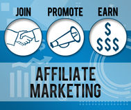 Affiliate Marketing Business Theme Background. Affiliate Marketing concpetual image with various element and blue background stock illustration