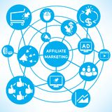 Affiliate marketing. Concept network in blue background royalty free illustration