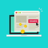 Affiliate marketing concept vector illustration, flat cartoon laptop computer with share button and money earning from Stock Images